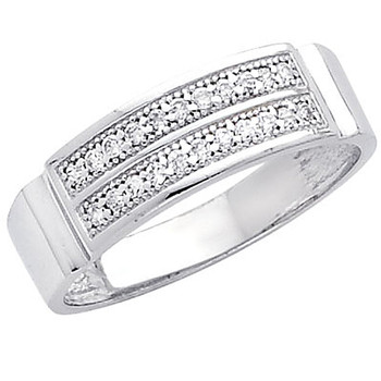 White gold wedding band with CZ. 14K  3.5 gr. - RG229