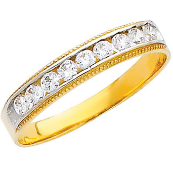 Yellow gold wedding band with CZ - 14K  2.7 gr. - RG227