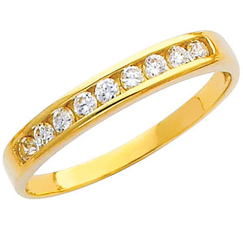 Yellow gold wedding band with CZ - 14K  2.4 gr. - RG219