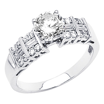 White Gold Engagement Ring 14K  3.3 gr. - RG49