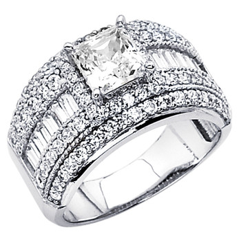White Gold Engagement Ring - 14K  7.3 gr. - RG65