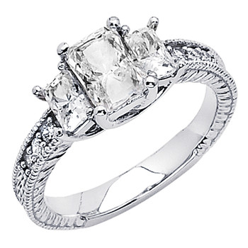 White Gold Engagement Ring - 14K  3.9 gr. - RG62