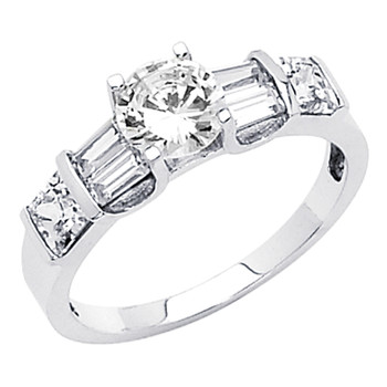 White Gold Engagement Ring 14K  3.0 gr. - RG47