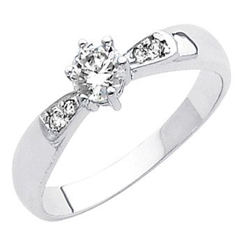 White Gold Engagement Ring 14K  2.3 gr. - RG43