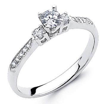 White Gold Engagement Ring - 14K - 0.37 Ct - DRG57