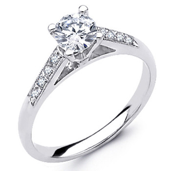 White Gold Engagement Ring - 14K - 0.62 Ct - DRG53