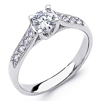 White Gold Engagement Ring - 14K - 0.53 Ct - DRG40