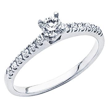 White Gold Engagement Ring - 14K - 0.45 Ct - DRG48
