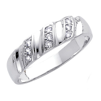 White gold wedding band with CZ. 14K  3.1 gr. - RG165