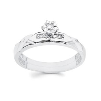 White Gold Engagement Ring 14K  0.09 Ct - DRG13E