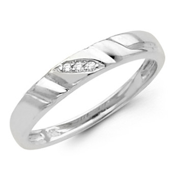 White gold wedding band with Diamonds - 14K  0.03Ct - DRG9B