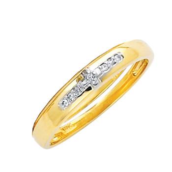 Yellow gold wedding band with Diamonds - 14K  0.03 Ct - DRG15B