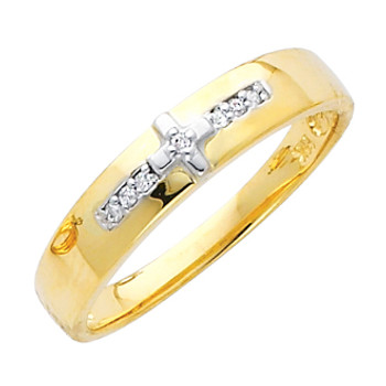 Yellow gold wedding band with Diamonds - 14K  0.05 Ct - DRG15G