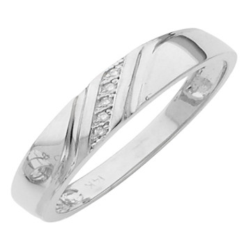 White gold wedding band with Diamonds - 14 K -  0.02Ct - DRG12B