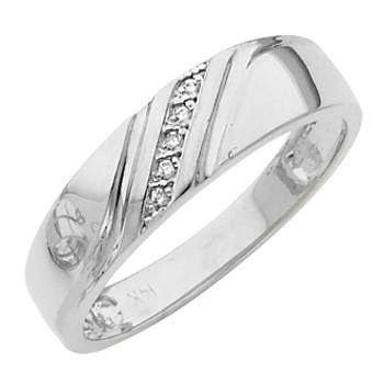 White gold wedding band with Diamonds - 14K  0.03 Ct - DRG12G
