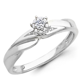 White Gold Engagement Ring 14K  0.07 Ct - DRG10E