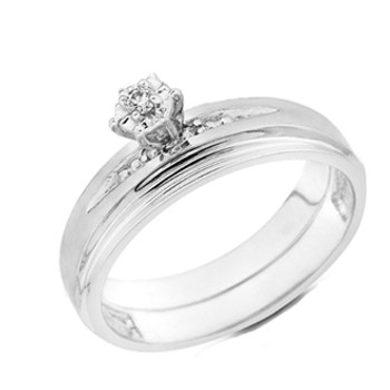 White Gold Engagement Ring 14K  0.09 Ct - DRG8E