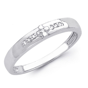 White gold wedding band with Diamonds - 14K  0.05Ct - DRG7B