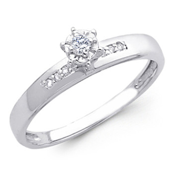 White Gold Engagement Ring 14K  0.09 Ct - DRG7E