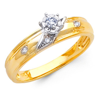 Yellow Gold Engagement Ring - 14K  0.10 Ct - DRG4E