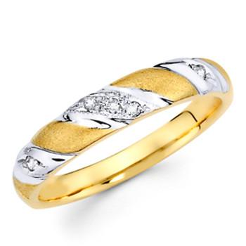Yellow gold wedding band with Diamonds - 14K  0.06 Ct - DRG3B
