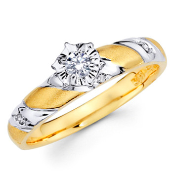 Yellow Gold Engagement Ring - 14K  0.15 Ct - DRG3E