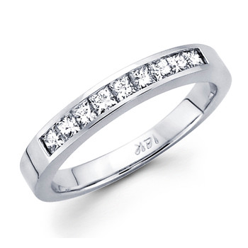White gold wedding band with diamonds - BD5-16