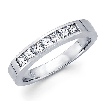 White gold wedding band with diamonds - BD5-15