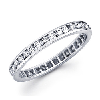 White gold wedding band with diamonds - BD5-3