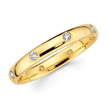 Yellow gold wedding band with diamonds - BD4-16