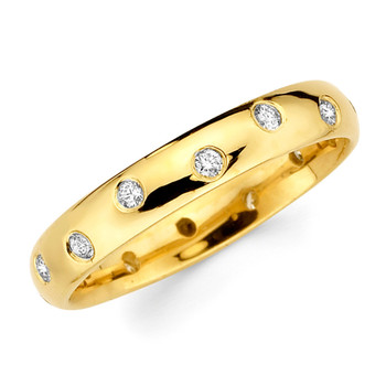 Yellow gold wedding band with diamonds. - BD4-12