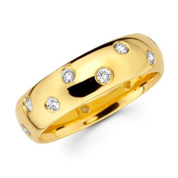 Yellow gold wedding band with diamonds - BD4-10