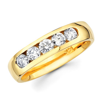 Yellow gold wedding band with diamonds - BD4-1