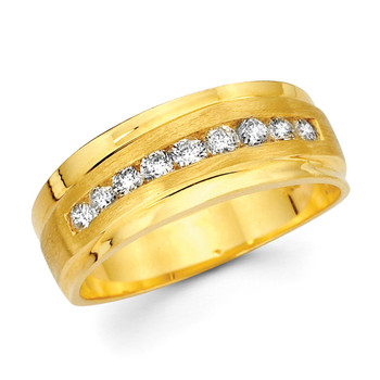 Yellow gold wedding band with diamonds - BD2-24