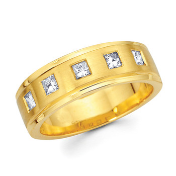 Yellow gold wedding band with diamond - BD2-20