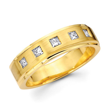 Yellow gold wedding band with diamonds - BD2-19