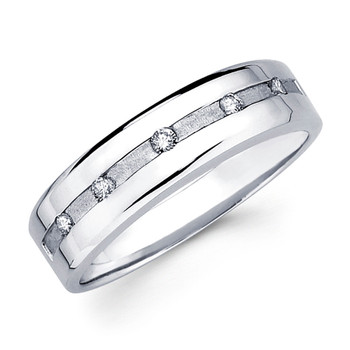 White gold wedding band with diamonds - BD2-14