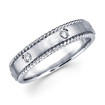 White gold wedding band with diamonds - BD2-12