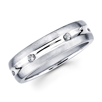 White gold wedding band with diamonds - BD2-9