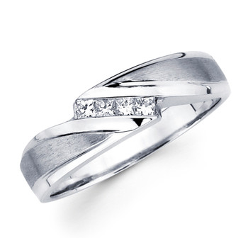 White gold wedding band with diamonds - BD2-8