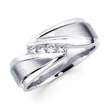 White gold wedding band with diamonds - BD2-7