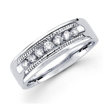 White gold wedding band with diamonds - BD2-4