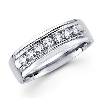 White gold wedding band with diamonds - BD2-3
