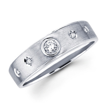 White gold wedding band with diamonds - BD1-18