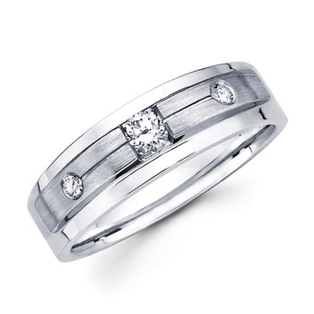 White gold wedding band with diamonds - BD1-14