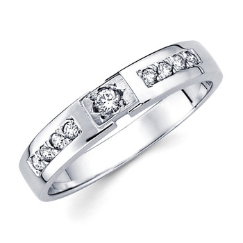 White gold wedding band with diamonds - BD1-12