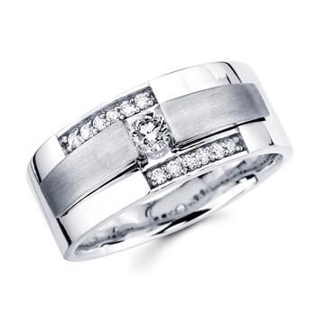 White gold wedding band with diamonds - BD1-3