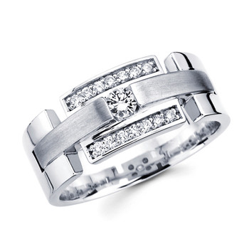 White gold wedding band with diamonds - BD1-2