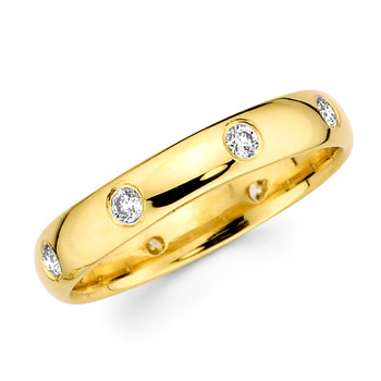 Yellow gold wedding band with diamonds - BD4-14