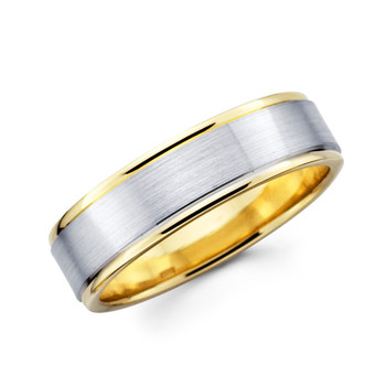 Yellow & white gold wedding band - BC1-13